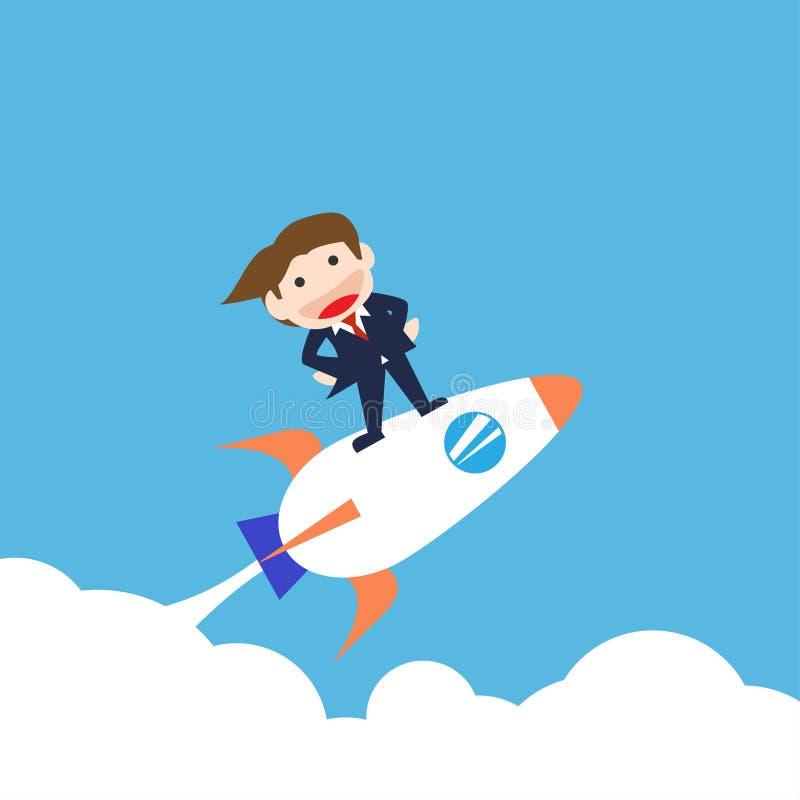 Businessman Standing the rocket , Vector cartoon stock illustration