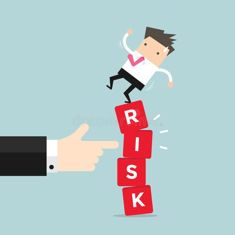 Businessman standing on shaky risk blocks by hand of manager. royalty free illustration