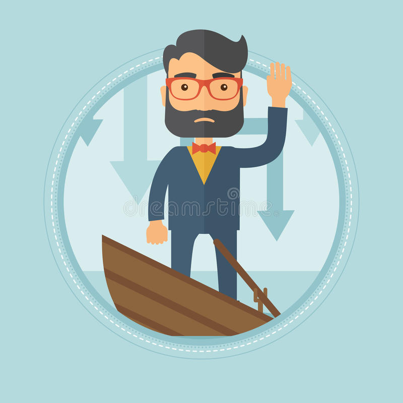 Businessman standing in sinking boat. Scared young caucasian hipster businessman with beard standing in a sinking boat and asking for help. Business bankruptcy royalty free illustration