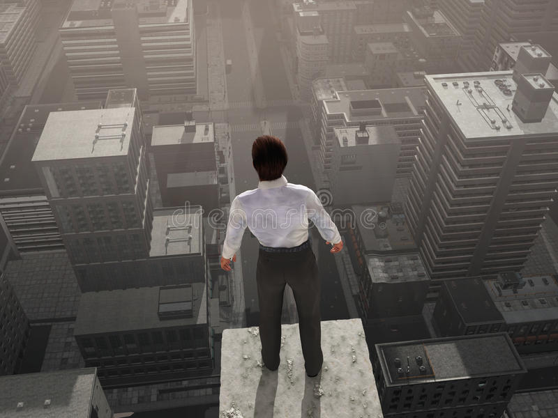 Businessman standing on the skyscraper top royalty free illustration