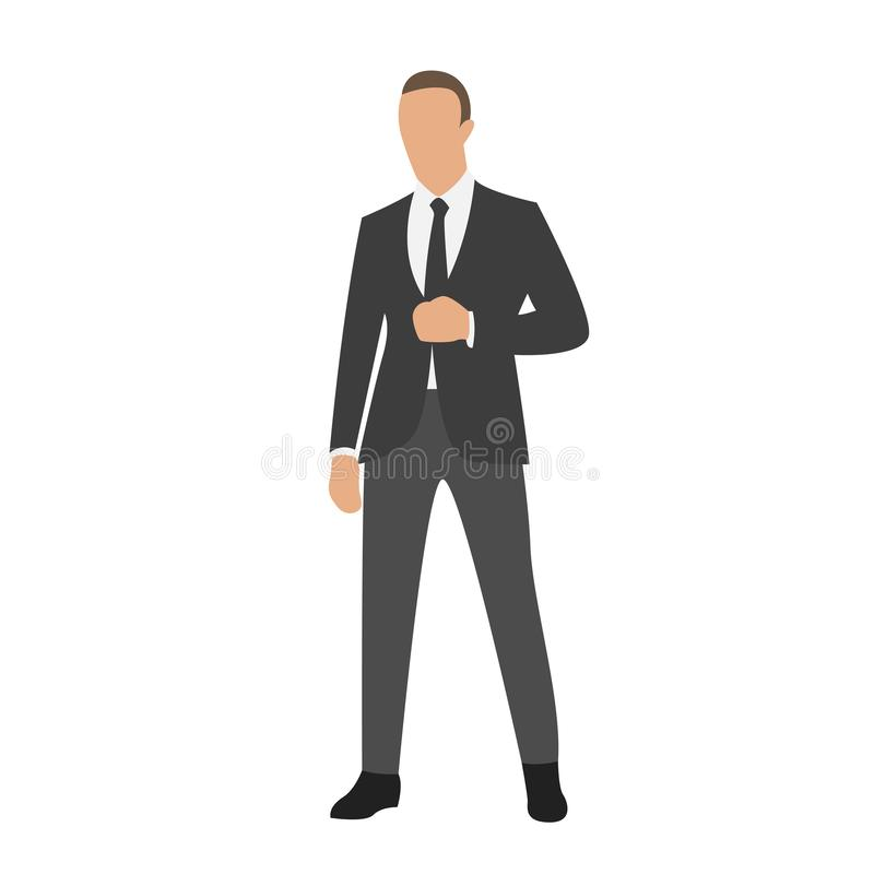 Businessman standing in dark suit, isolated vector illustration, flat design stock illustration