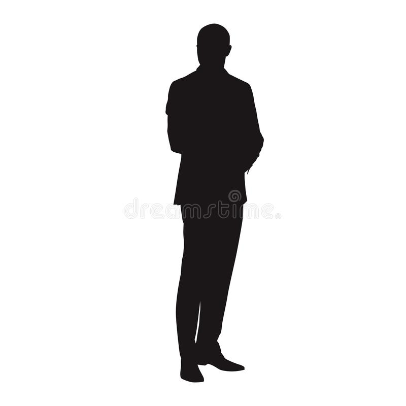 Businessman standing in suit, vector silhouette royalty free illustration