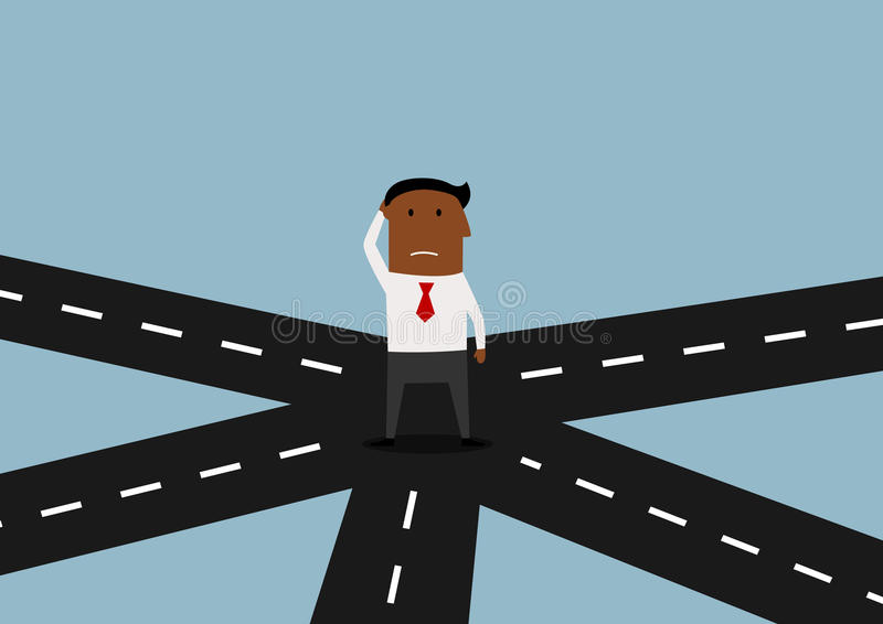 Businessman standing and thinking on crossroad royalty free illustration