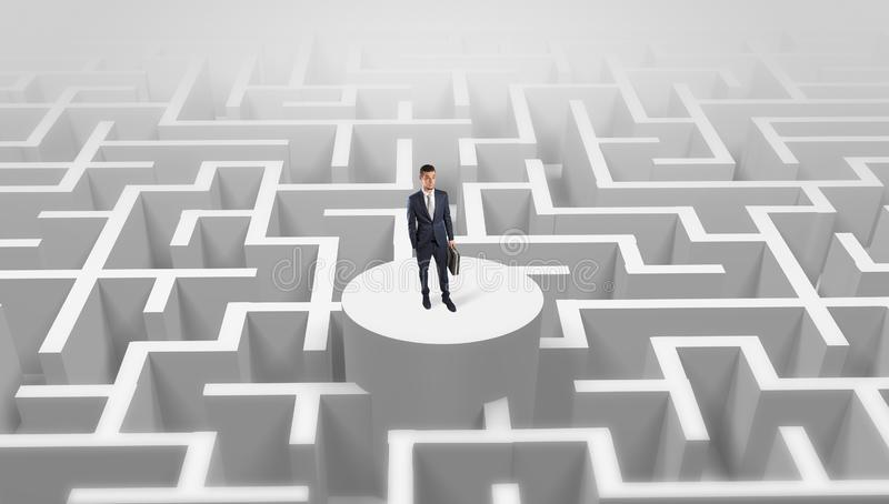 Businessman standing on the top of a maze royalty free stock photos