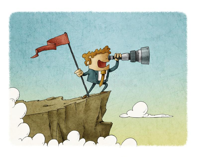 Businessman standing on top of a mountain with a flag and looking into the telescope, business concept success. vector illustration