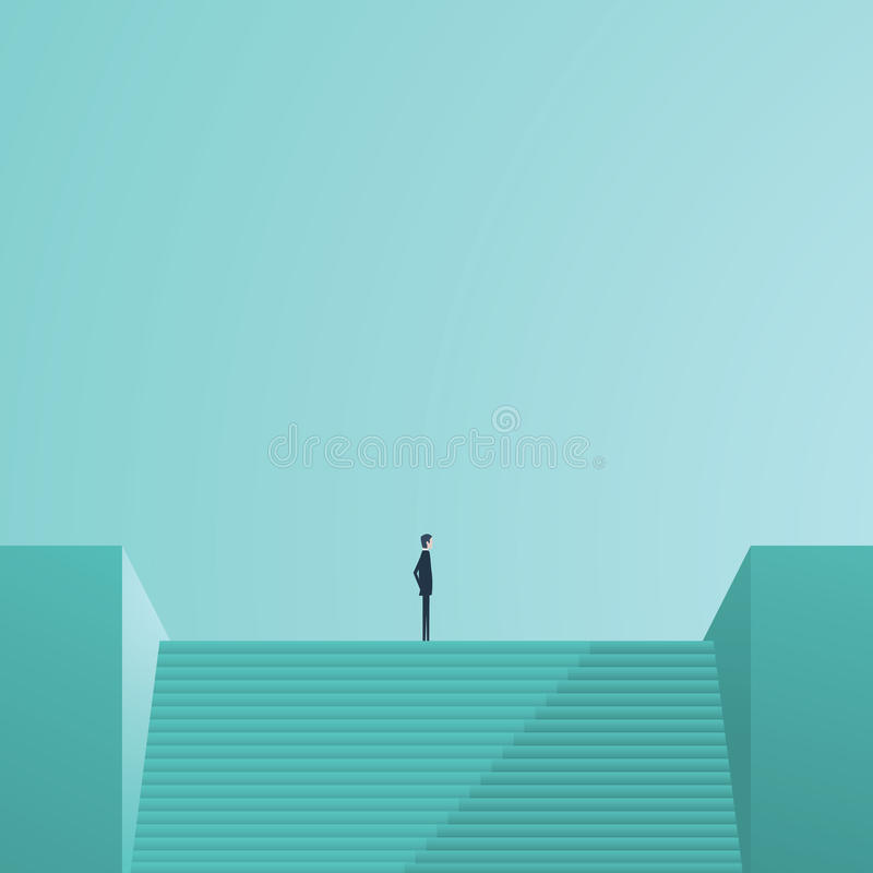 Businessman standing on top of stairs as a symbol of business leadership, career success, ambition and achievement. stock illustration