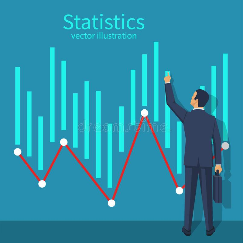 Businessman is standing by wall with analytical data vector illustration