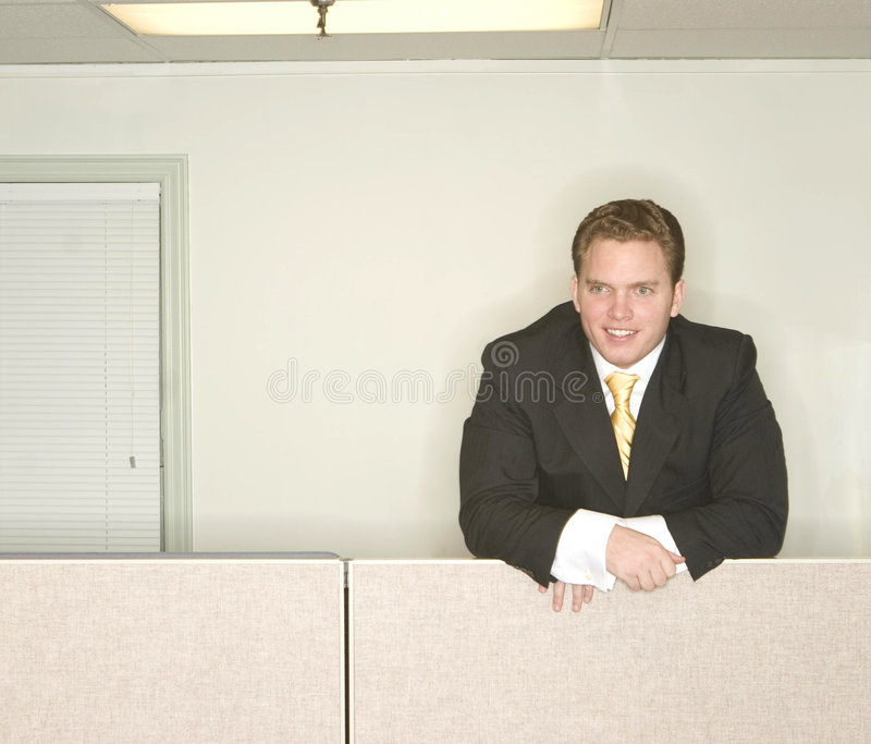 Businessman stands ahead stock image