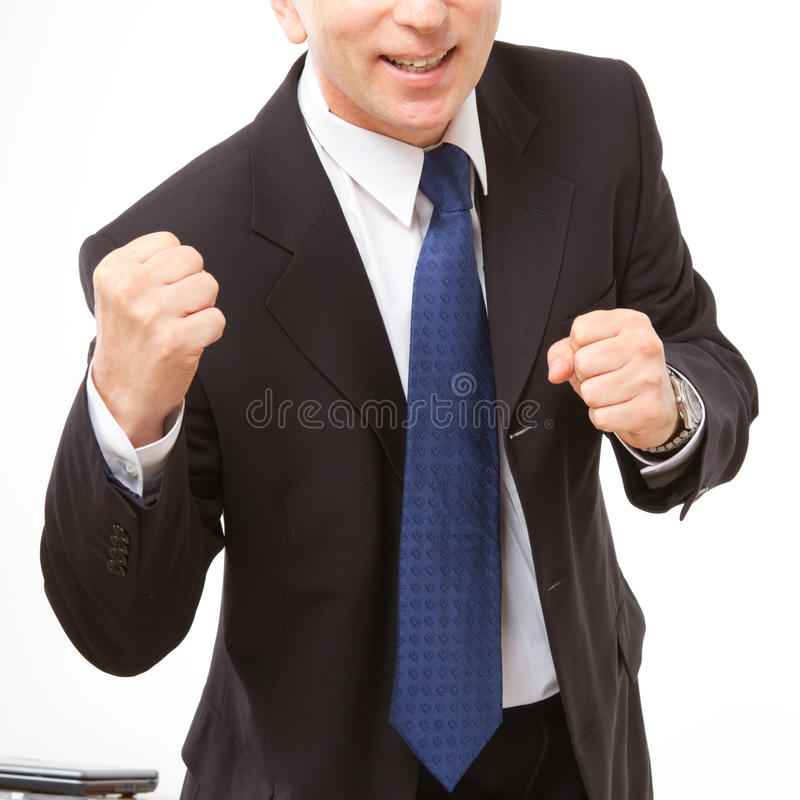 Download Businessman Stands With Clenched Fists. Stock Image - Image: 27990505