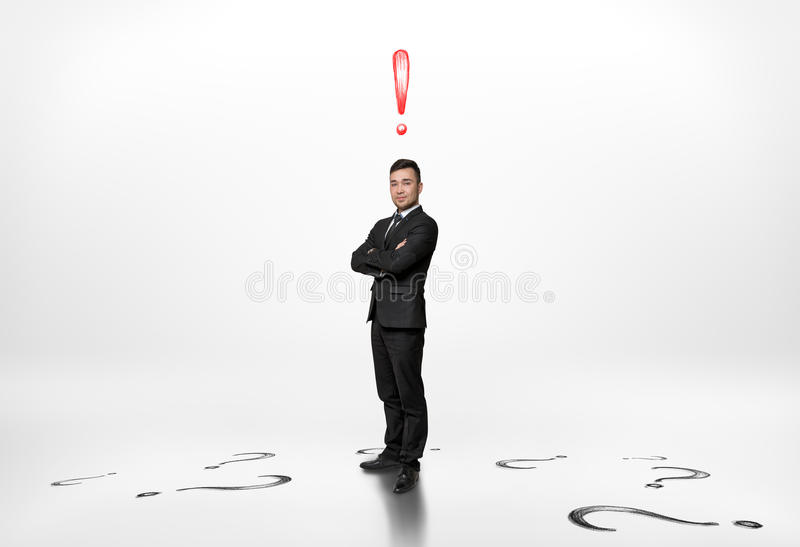 Download Businessman Stands With Exclamation Mark Above Him And Questions On Floor Stock Image - Image of entrepreneur, person: 76059461