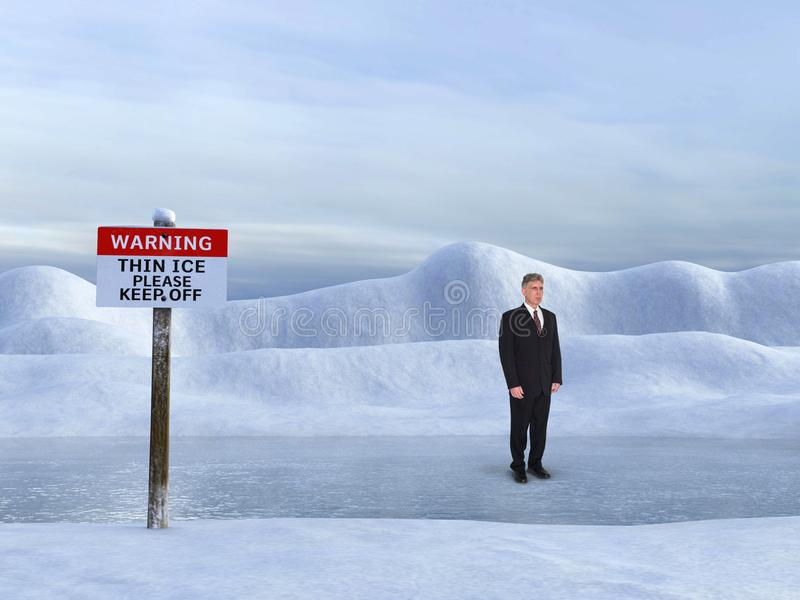 Business Risk Management, Sales, Marketing. A businessman stands on a frozen thin ice lake. Metaphor for risk management, sales, marketing, business, career, and royalty free stock photos