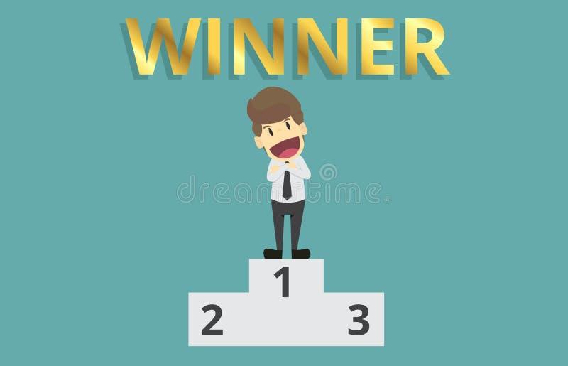 Businessman stands on pedestal first winner.cartoon of business vector illustration