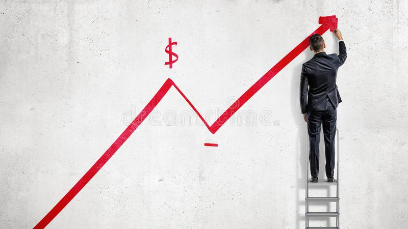 download a businessman stands on a step ladder and draws a red statistic arrow moving up