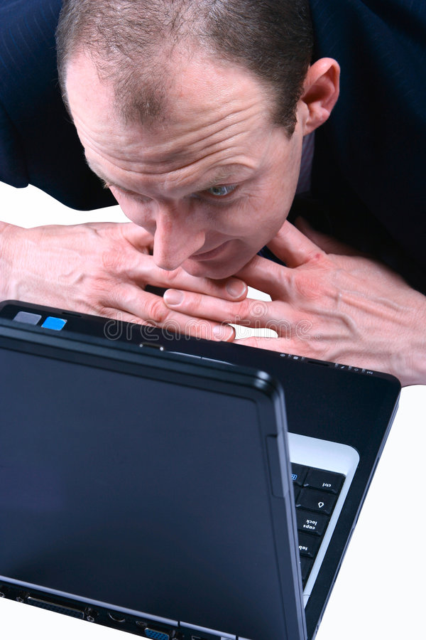Download A Businessman Staring Into His Laptop Stock Photo - Image of expressive, face: 2094864