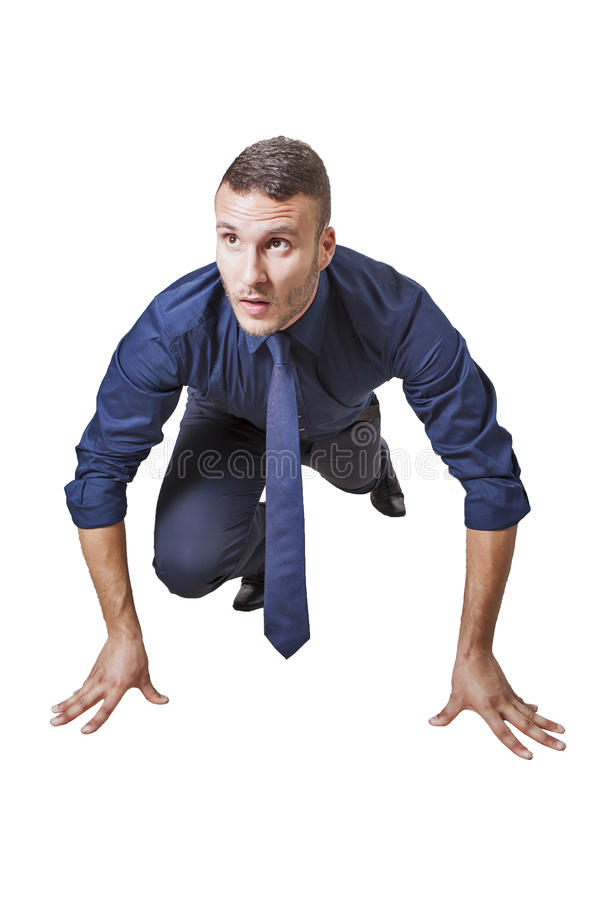 Businessman in start position royalty free stock image