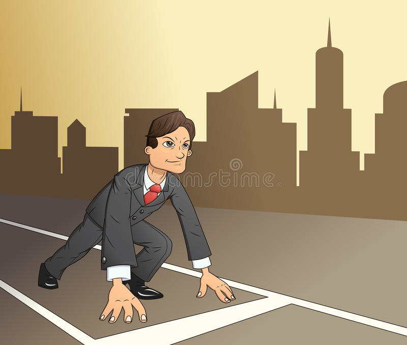 Businessman starting the race to success 4. Illustration of the businessman standing in start position to race on the way to success with city on background vector illustration