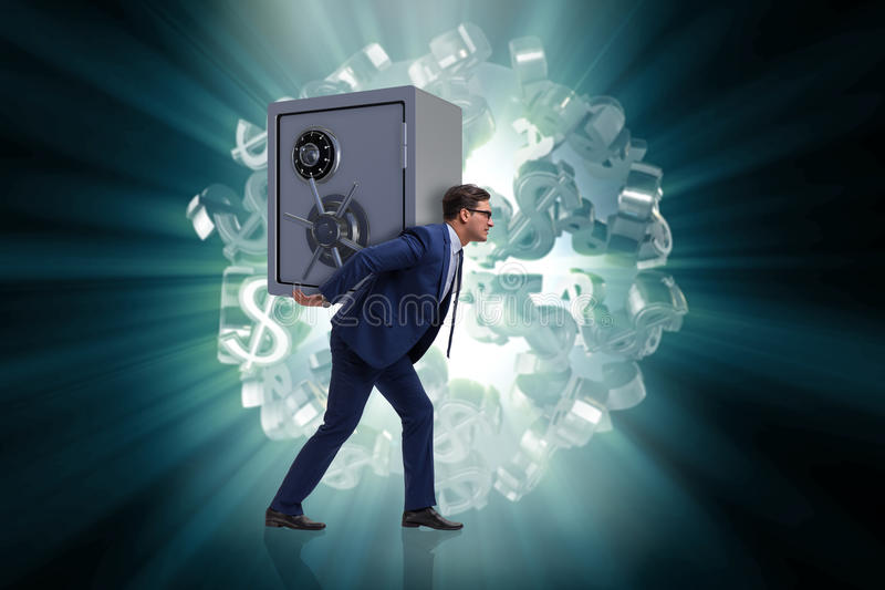 The businessman stealing metal safe from bank stock images