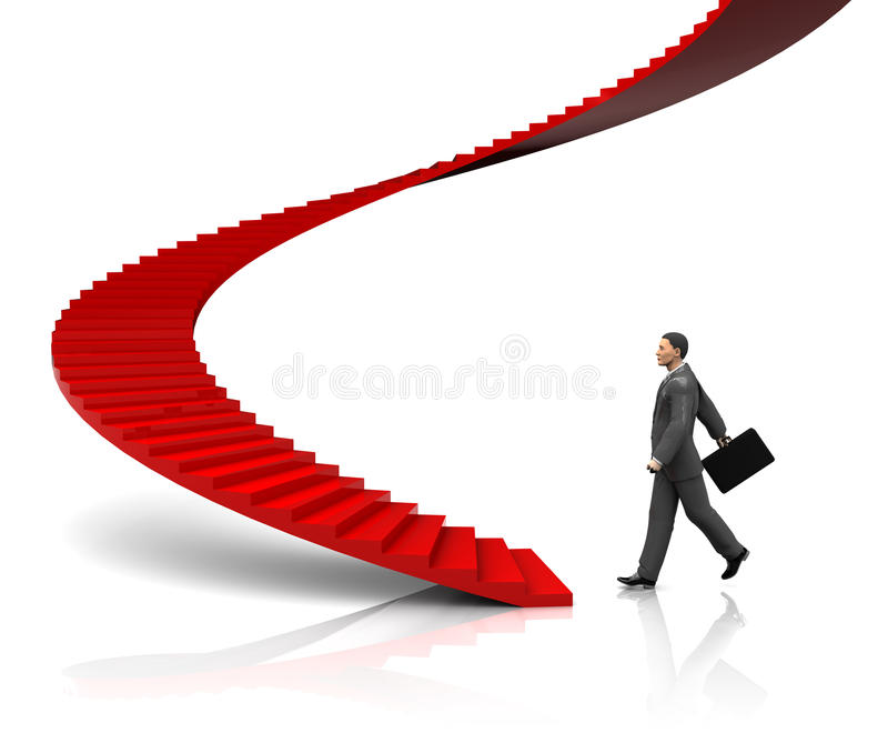 Businessman Step To Stairway Royalty Free Stock Photography
