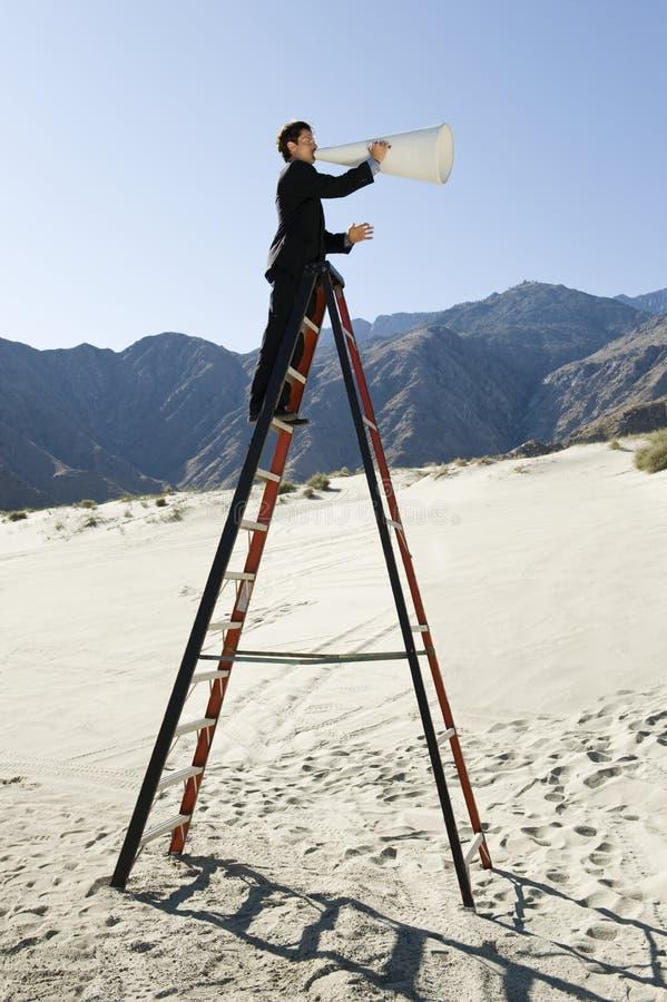 Download Businessman On Stepladder Using Megaphone In Desert Royalty Free Stock Photos - Image: 29665258