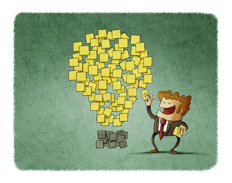 Businessman sticks a post note next to others that are shaped like an idea. creativity concept. Illustration businessman sticks a post note next to others that royalty free illustration