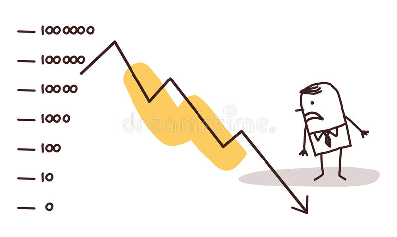 Businessman & stock market crash royalty free illustration
