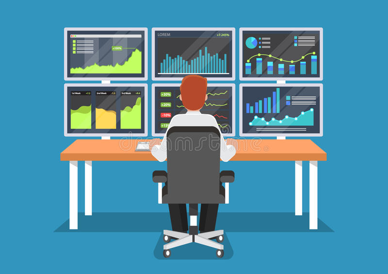 Businessman or stock market trader working at desk. Businessman or stock market trader working at desk with six monitor showing data vector illustration