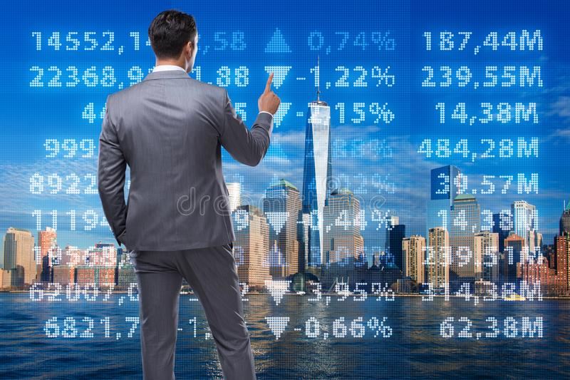 Businessman in stock trading concept. The businessman in stock trading concept stock photos
