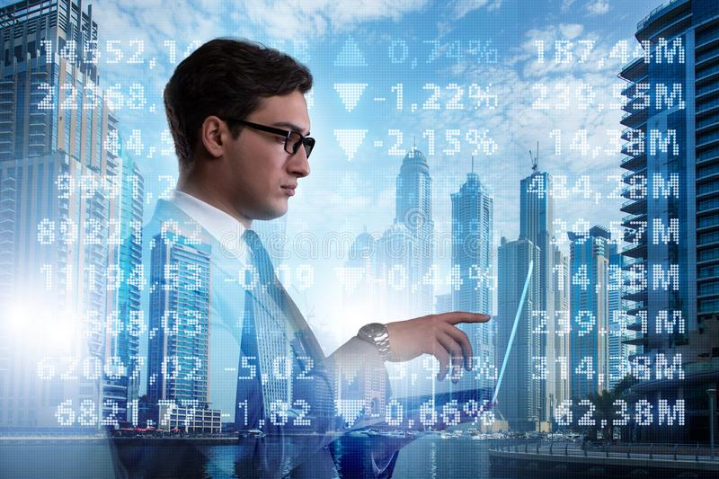The businessman in stock trading concept. Businessman in stock trading concept stock images