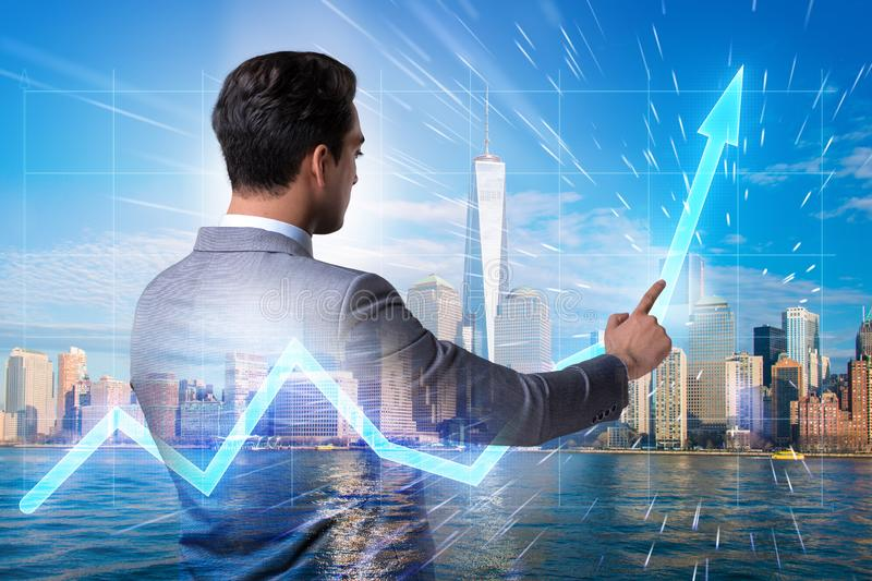 The businessman in stock trading concept. Businessman in stock trading concept royalty free stock photo