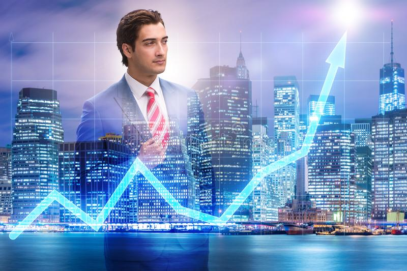 The businessman in stock trading concept. Businessman in stock trading concept stock image