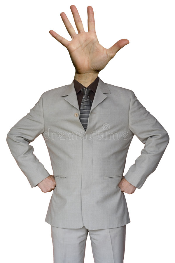 Businessman stop hand head. A funny Businessman whit a stop hand head stock photo