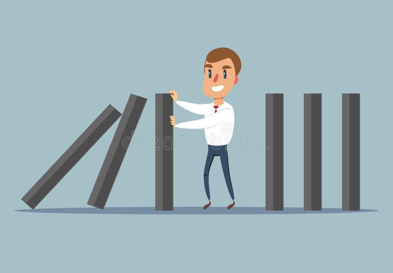 Businessman stopping falling domino vector concept. Symbol of crisis, risk, management, leadership and determination. Vector illustration stock illustration