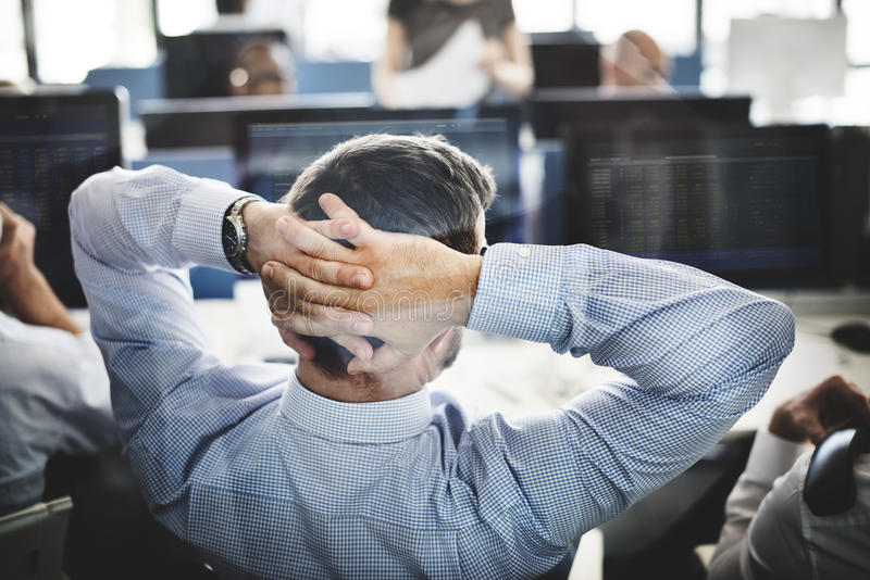Businessman Stress Investment Stock Trading Concept stock image