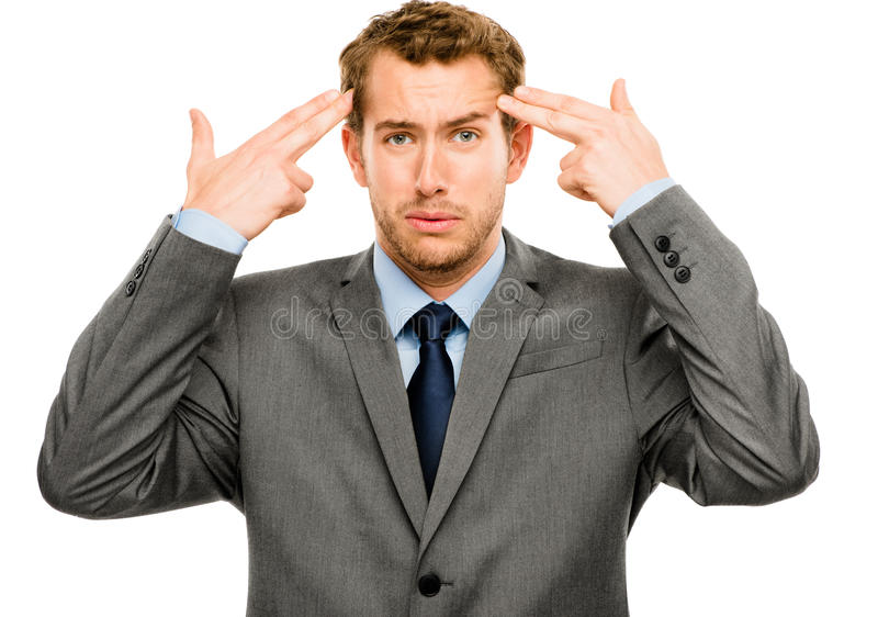 Businessman Stressed Pressure Headache Worry Isolated On W Hite Stock Photography