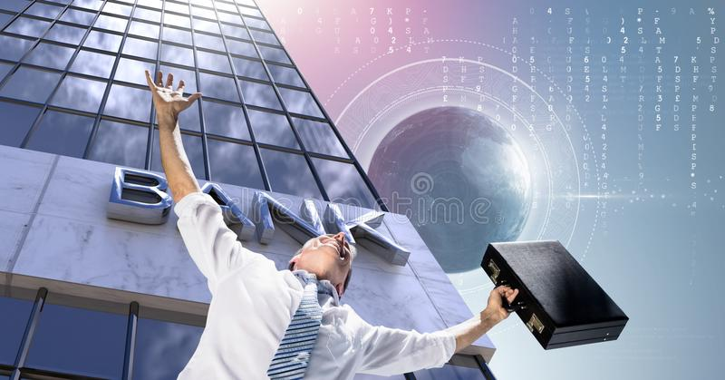 Businessman stretching arms with briefcase and Tall buildings bank with world globe background. Digital composite of Businessman stretching arms with briefcase royalty free stock photos
