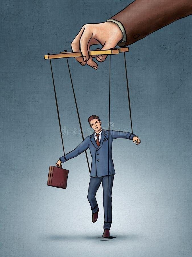 Businessman on strings royalty free illustration