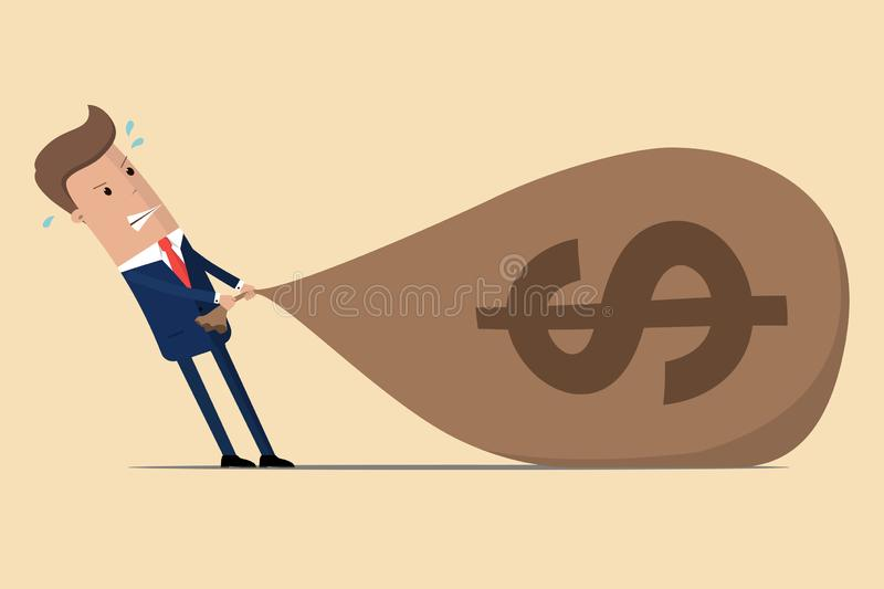 Businessman is struggling to pull a big bag of money because it is too heavy. Vector illustration stock illustration