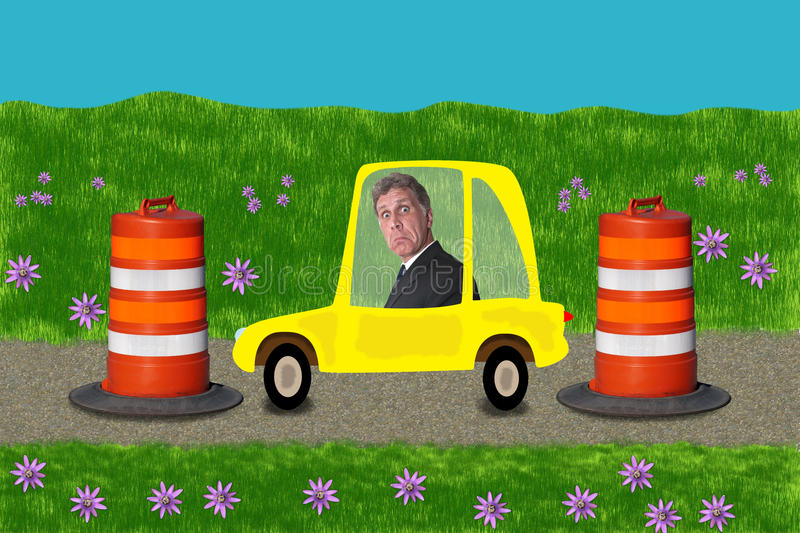Businessman Stuck Road Construction Driving Work. Humorous scene of a businessman stuck in road construction zone while driving to work. This commuter might as vector illustration