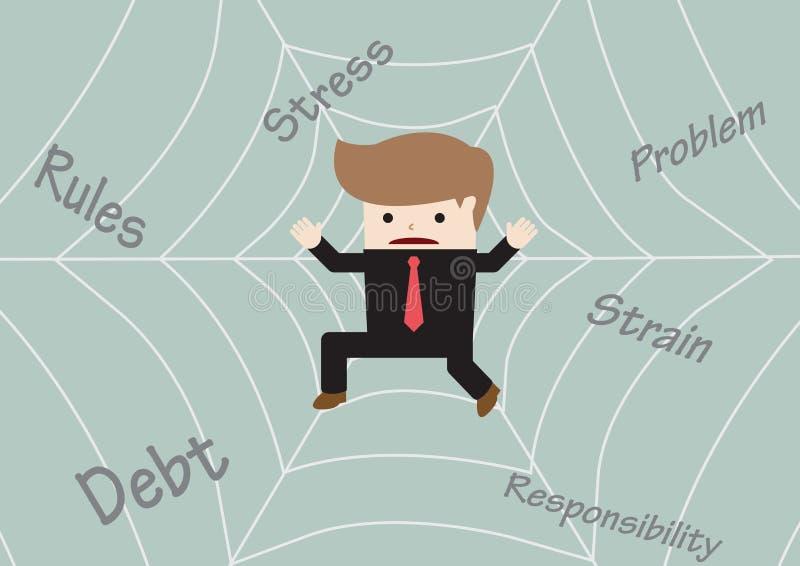 Businessman stuck on spider web stock illustration