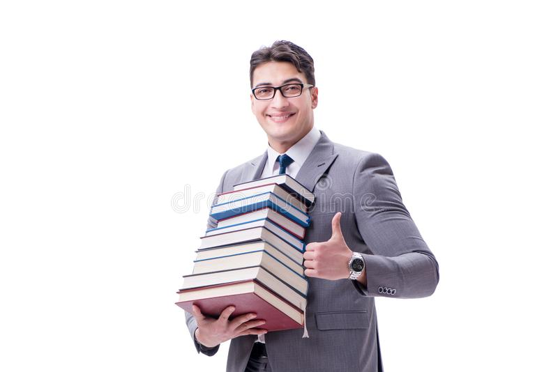 Businessman student carrying holding pile of books isolated on w royalty free stock photo