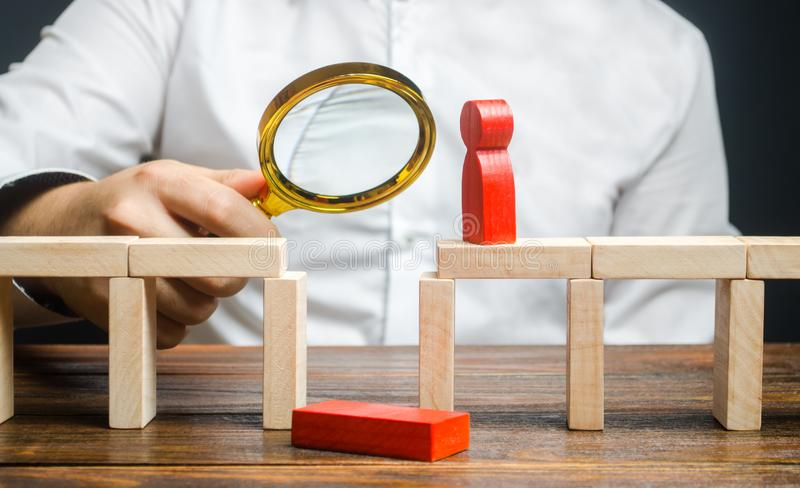 A businessman is studying a problem and ways to solve it. Wrong business model, unprofitability and inefficiency. Failed project. Testing. Risk management stock photography