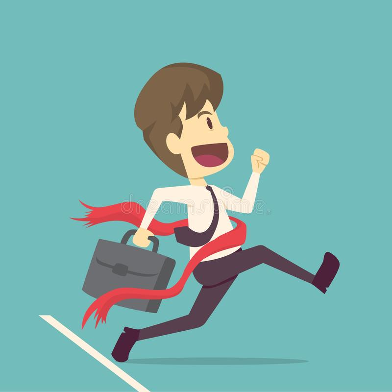 Businessman successful in a finishing line. .cartoon of business,employee success is the concept of the man characters business, royalty free illustration