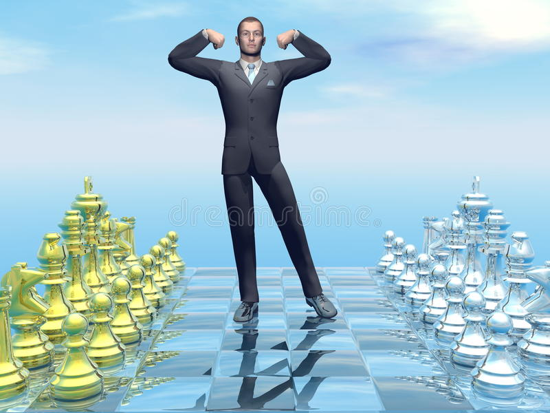Businessman successful strategy - 3D render royalty free illustration