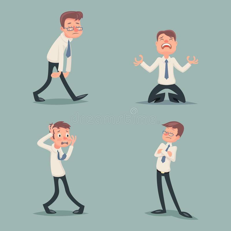 Businessman Suffer Emotion Fear Horror Depression Sadness Anger Arrogant Contempt Melancholy Stress Character Icons Set stock illustration