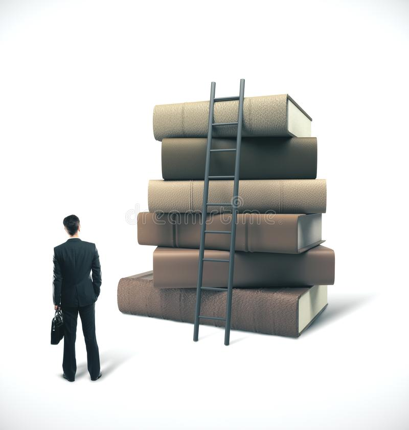 Businessman in suit with briefcase. Looking on stack of books with ladder. Business education concept stock images