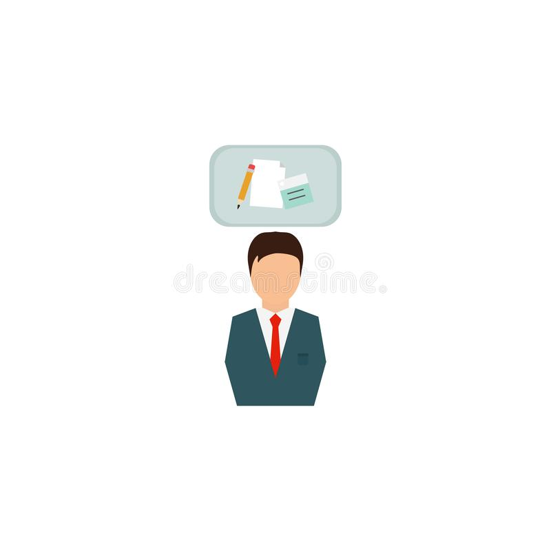 Businessman in suit. Business concept with icons. Successful man dressed in suit . Portrait of Full length. White background. royalty free illustration
