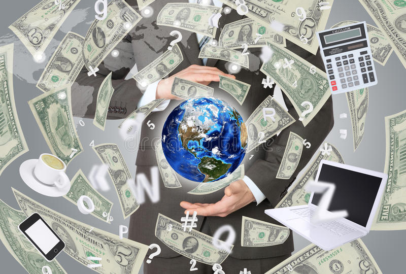Businessman in a suit holding a earth stock illustration