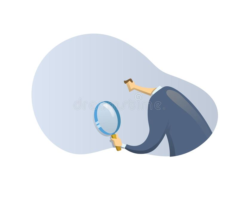 Businessman in suit looking through a magnifying glass on abstract shape backgroud, back view. Recruiting, researches stock illustration
