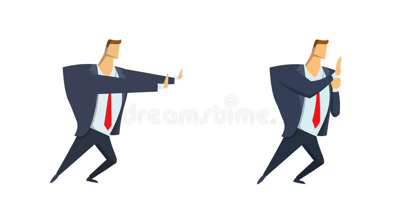 Businessman in suit moving or pushing something. Copyspace. Set of two characters. Flat vector illustration. Isolated on. White background vector illustration