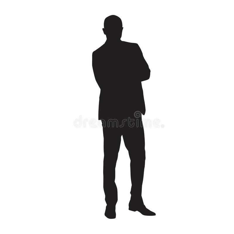 Businessman in suit standing with folded arms royalty free illustration